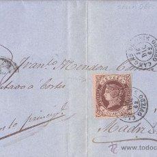 Sellos: CARTA ENTERA CIRCULADA DE CANGAS DE ONÍS (ASTURIAS) A MADRID. 4 CUARTOS. DEFECTO IMPRESION 1862. Lote 41418597