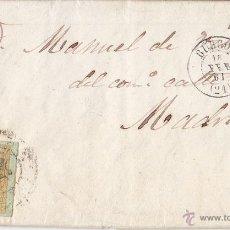 Sellos: CARTA ENTERA DE BURGOS A MADRID. 1861. RUEDA DE CARRETA. 4 CUARTOS AMARILLO.. Lote 41993384