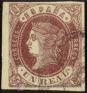 ESPAÑA. (CAT. 61). 1 REAL. BORDE DE HOJA. PIEZA DE LUJO. (Sellos - España - Isabel II de 1.850 a 1.869 - Usados)