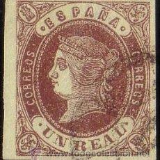 Sellos: ESPAÑA. (CAT. 61). 1 REAL. BORDE DE HOJA. PIEZA DE LUJO.. Lote 42596377