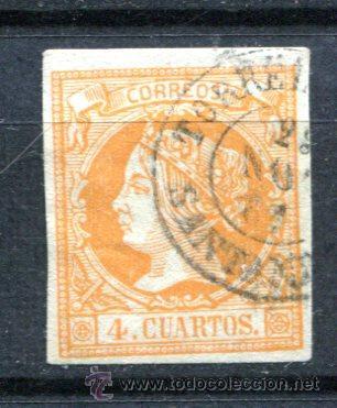 EDIFIL 52. 4 CUARTOS 1860. MATASELLO DE FECHA TORRELAVEGA (Sellos - España - Isabel II de 1.850 a 1.869 - Usados)