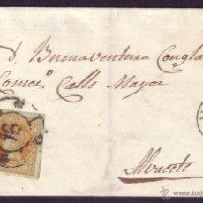 Sellos: ESPAÑA. (CAT. 52). 1861. CUBIERTA DE CORREO INTERIOR DE ALBACETE. FRANQUEO DE 4 CTOS. RARÍSIMA.. Lote 43664660