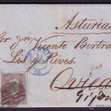 Sellos: ESPAÑA. (CAT. 40/GRAUS 43-I). 1855. CARTA DE MADRID A GIJÓN. 4 CTOS. FALSO POSTAL TIPO I. MUY RARA.. Lote 43791084