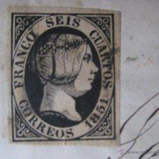 Sellos: EDIFIL Nº6 ISABEL II - 6 CUARTOS . AÑO 1851 - EN CARTA. Lote 44083243