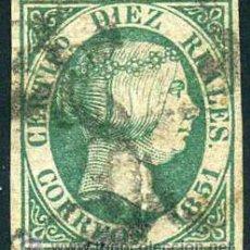 Sellos: ED 11, 10 REALES, ISABEL II, 1851, EXCELENTE. Lote 44303368