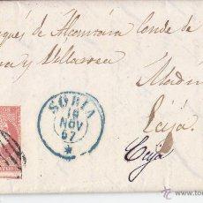 Sellos: CARTA ENTERA FECHADOR SORIA AZUL. 4 CUARTOS ROJO. A ECIJA. 1857. Lote 44984252