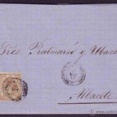 Sellos: ESPAÑA. (CAT. 96). 1867. CUBIERTA A ALBACETE. 50 MLS. MAT. VALENCIA A BARCELONA. RARA.. Lote 45084778