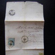 Sellos: ESPAÑA - REINADO ISABEL II - CARTA CON EL SELLO 4 CUATOS AZUL DE 1865 - VER MAS FOTOS. Lote 45451967