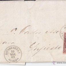 Francobolli: CARTA ENTERA. LUJO DE RIBADESELLA A INFIESTO. 4 CUARTOS CASTAÑO. 1863. ASTURIAS. Lote 45750020