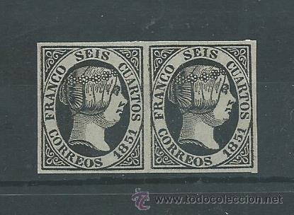 ESPAÑA PAREJA DE SELLOS Nº 6 DEL - 6 CU. NEGRO - SELLO DE 1851 FALSO SEGUI (Sellos - España - Isabel II de 1.850 a 1.869 - Nuevos)