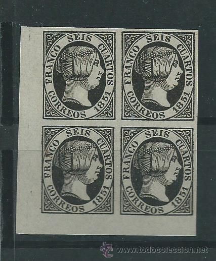 ESPAÑA BLOQUE DE 4 DEL SELLO Nº 6 DEL - 6 CU. NEGRO - DEL SELLO DE 1851 FALSO SEGUI NUEVO (Sellos - España - Isabel II de 1.850 a 1.869 - Nuevos)