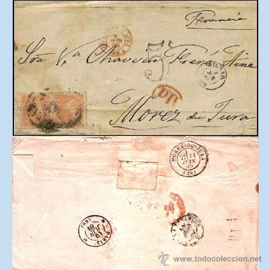 1869.-PAREJA ISABEL II Nº 100 A, CATº. EDIF. SOBRE CARTA CON RUEDA CARRETA Nº 20 DE BILBAO A FRANCIA (Sellos - España - Isabel II de 1.850 a 1.869 - Cartas)