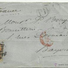 Sellos: CIRCULADA 1869 EDIFIL 100 A DE MADRID A BAYONA FRANCIA VALOR 2014 CATALOGO 180.-- EUROS. Lote 47463436