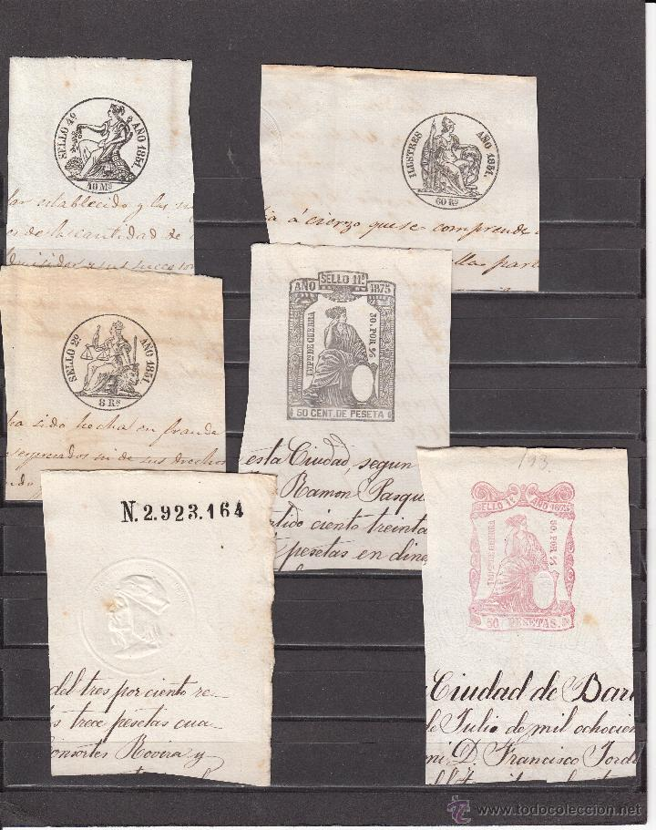 LOTE COLECCION DE 6 FISCALES DE 1851 A 1875 ---OCASION---- (Sellos - España - Isabel II de 1.850 a 1.869 - Usados)