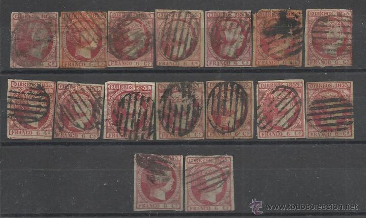 PRIMER CENTENARIO LOTE DE 16 SELLOS DEL Nº 17 DE ESPAÑA ISABEL II (Sellos - España - Isabel II de 1.850 a 1.869 - Usados)