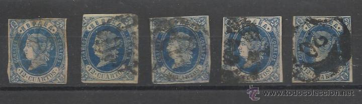 PRIMER CENTENARIO LOTE DEL SELLO Nº 59 DE ISABEL II MATASELLADOS (Sellos - España - Isabel II de 1.850 a 1.869 - Usados)