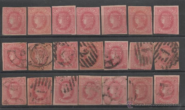 PRIMER CENTENARIO LOTE DEL SELLO Nº 64 DE ISABEL II NUEVOS SIN GOMA Y MATASELLADOS (Sellos - España - Isabel II de 1.850 a 1.869 - Usados)