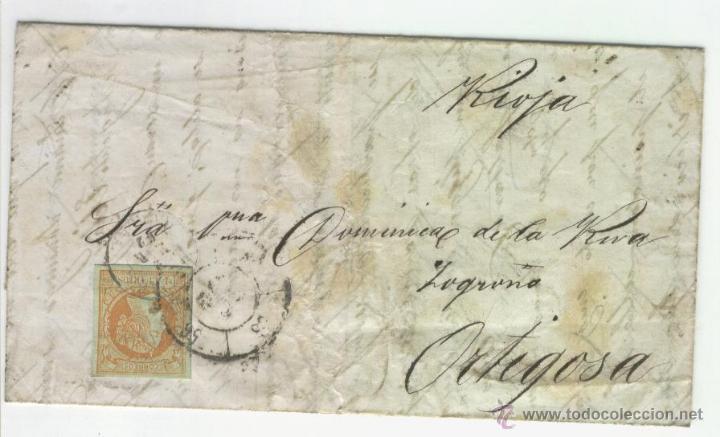 CARTA CARRETA DIRIGIDA A CANDIDO DE LA RIVA EN ORTIGOSA DE CAMEROS RIOJA MANUSCRITA MANUSCRITO (Sellos - España - Isabel II de 1.850 a 1.869 - Cartas)