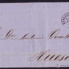 Sellos: ESPAÑA. (CAT. 48). 1857. CARTA DE ZARAGOZA A HUESCA. 4 CTOS. MAT. PARRILLA LIMADA. VARIEDAD SELLO.. Lote 48741094