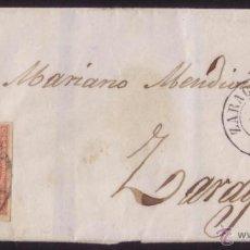 Sellos: ESPAÑA.(CAT.48).1858. CUBIERTA LUTO. CORREO INTERIOR D ZARAGOZA. 4 CTOS. DOBLE PORTE. MAT. R. C. 15.. Lote 48755810