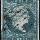 Sellos: 1856.-PIEZA DE 1 REAL, PAPEL LINEAS CRUZADAS, COLOR AZUL, PARRILLA NEGRA. Nº 45A CTº. 325 € CERTº.. Lote 48891405