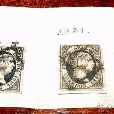 Sellos: 2 SELLOS 1851 SEIS CUARTOS, ORIGINALES ANTIGUOS, TAL COMO SE VE EN LAS FOTOS PUESTAS.. Lote 48975829