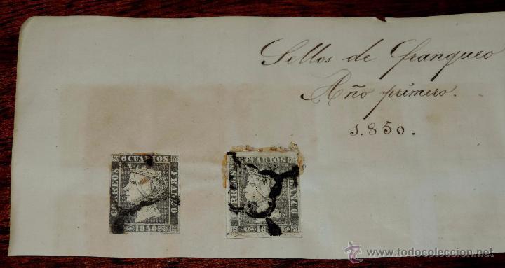 2 SELLOS 1850 SEIS CUARTOS, ORIGINALES ANTIGUOS, TAL COMO SE VE EN LAS FOTOS PUESTAS. (Sellos - España - Isabel II de 1.850 a 1.869 - Usados)