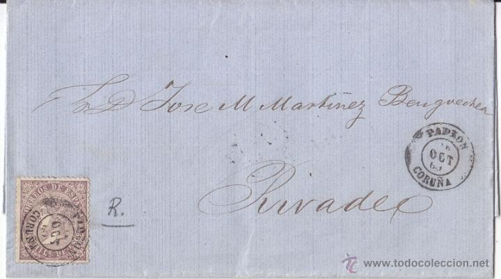 ENVUELTA EDIFIL 98. CON PRECIOSO FECHADOR DE PADRÓN. CORUÑA. 1869. (Sellos - España - Isabel II de 1.850 a 1.869 - Cartas)