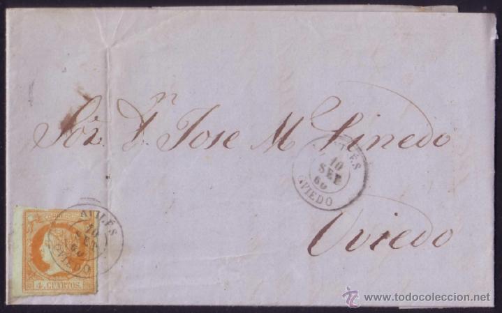 ESPAÑA. (CAT. 52). 1860. CARTA DE AVILÉS A OVIEDO. 4 CTOS. MAT. AVILÉS(OVIEDO). LLEGADA. MAGNÍFICA. (Sellos - España - Isabel II de 1.850 a 1.869 - Cartas)