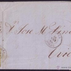 Sellos: ESPAÑA. (CAT. 52). 1860. CARTA DE AVILÉS A OVIEDO. 4 CTOS. MAT. AVILÉS(OVIEDO). LLEGADA. MAGNÍFICA.. Lote 49578762