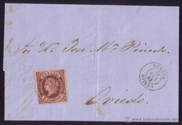 ESPAÑA. (CAT. 58). 1863. CARTA DE LUARCA A OVIEDO. 4 CTOS.MAT. LUARCA (OVIEDO). LLEGADA. MUY BONITA. (Sellos - España - Isabel II de 1.850 a 1.869 - Cartas)
