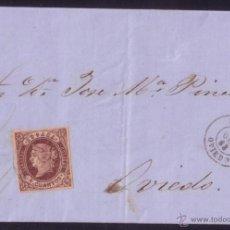 Sellos: ESPAÑA. (CAT. 58). 1863. CARTA DE LUARCA A OVIEDO. 4 CTOS.MAT. LUARCA (OVIEDO). LLEGADA. MUY BONITA.. Lote 49579057