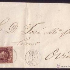 Sellos: ESPAÑA. (CAT.58). 1863. CUBIERTA DE AVILÉS A OVIEDO. 4 CTOS. MAT. * AVILÉS/OVIEDO *. LLEGADA. BONITA. Lote 49586394