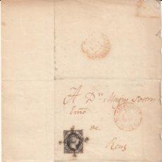 Sellos: CARTA CON SELLO 6 CUARTOS 1851 CON MATASELLOS ARAÑA Y BAEZA DE BARCELONA CON DESTINO A REUS. Lote 49782878