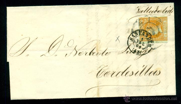 * PRECIOSA CARTA 1861 SANTANDER-TORDESILLAS FECHADOR, RUEDA CARRETA AMBAS SOBRE EL SELLO EDIFIL 52 * (Sellos - España - Isabel II de 1.850 a 1.869 - Cartas)