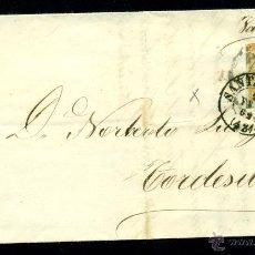 Sellos: * PRECIOSA CARTA 1861 SANTANDER-TORDESILLAS FECHADOR, RUEDA CARRETA AMBAS SOBRE EL SELLO EDIFIL 52 *. Lote 49975061