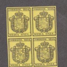 Sellos: EDIFIL 28* NEGRO SOBRE AMARILLO, BLOQUE DE CUATRO, NUEVO. Lote 50036366