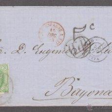 Sellos: CARTA COMPLETA CON EDIFIL 65 12 CTOS, DE VALLADOLID A BAYONA , 14 DIC 1864. Lote 50046744