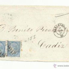 Sellos: ENVUELTA CIRCULADA 1867 DE BARCELONA A CADIZ CON FECHADOR DE LLEGADA AL DORSO. Lote 50189677