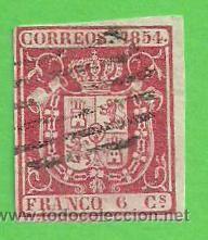 EDIFIL 24. ESCUDO DE ESPAÑA. (1854). (Sellos - España - Isabel II de 1.850 a 1.869 - Usados)