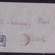 Sellos: ESPAÑA. (CAT. 81). 1866. CUBIERTA DE VALENCIA A ALBACETE. 4 CTOS. MAT. AMBULANTE/MEDITERRANEO. RARA.. Lote 50427558