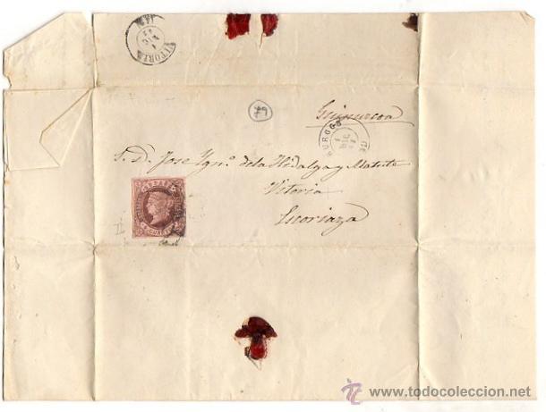 SOBRE CON CARTA AÑO 1863. DE GUIPUZCOA A ESCORIAZA. VITORIA (Sellos - España - Isabel II de 1.850 a 1.869 - Cartas)