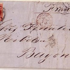 Sellos: F11-30-CARTA COMPLETA MADRID-BAYONA 1861. DORSO LLEGADA. Lote 50763497