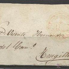 Sellos: Q165B-CARTA FRONTAL,AÑO 1854 SELLO Nº24,14-2-1854 DE CASTILLA LA VIEJA A TRUJILLO,MATASELLOS PARRILL. Lote 51069452