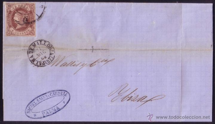 ESPAÑA. (CAT. 58A). 1862. CUBIERTA DE PALMA A IBIZA. 4 CTOS. CORREO INSULAR ENTRE ISLAS. MUY RARA. (Sellos - España - Isabel II de 1.850 a 1.869 - Cartas)