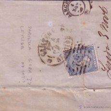 Sellos: F12- 22-CARTA COMPLETA LERIDA -BARCELONA 1866. PARRILA CIFRA 32. Lote 51374762