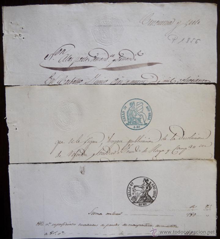 TRES SELLOS CLASICOS FISCALES 1854, 1854 Y 1856. ANTIGUOS SELLOS FISCALES TIMBROLOGIA FILATELIA FISC (Sellos - España - Isabel II de 1.850 a 1.869 - Usados)