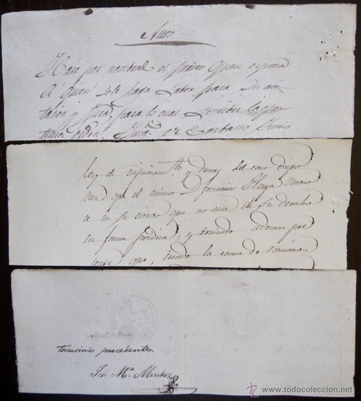 Sellos: TRES SELLOS CLASICOS FISCALES 1854, 1854 Y 1856. ANTIGUOS SELLOS FISCALES TIMBROLOGIA FILATELIA FISC - Foto 2 - 51387818