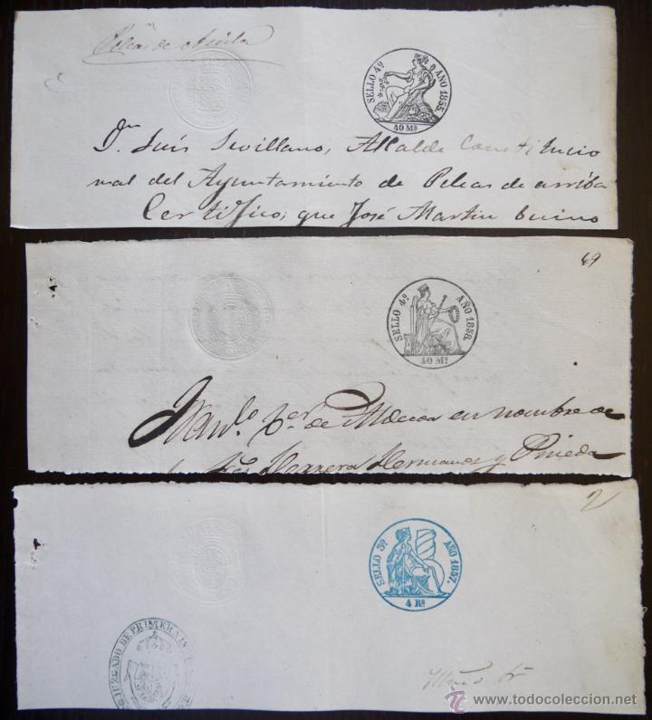 TRES SELLOS CLASICOS FISCALES 1855, 1857 Y 1858. ANTIGUOS SELLOS FISCALES TIMBROLOGIA FILATELIA FISC (Sellos - España - Isabel II de 1.850 a 1.869 - Usados)