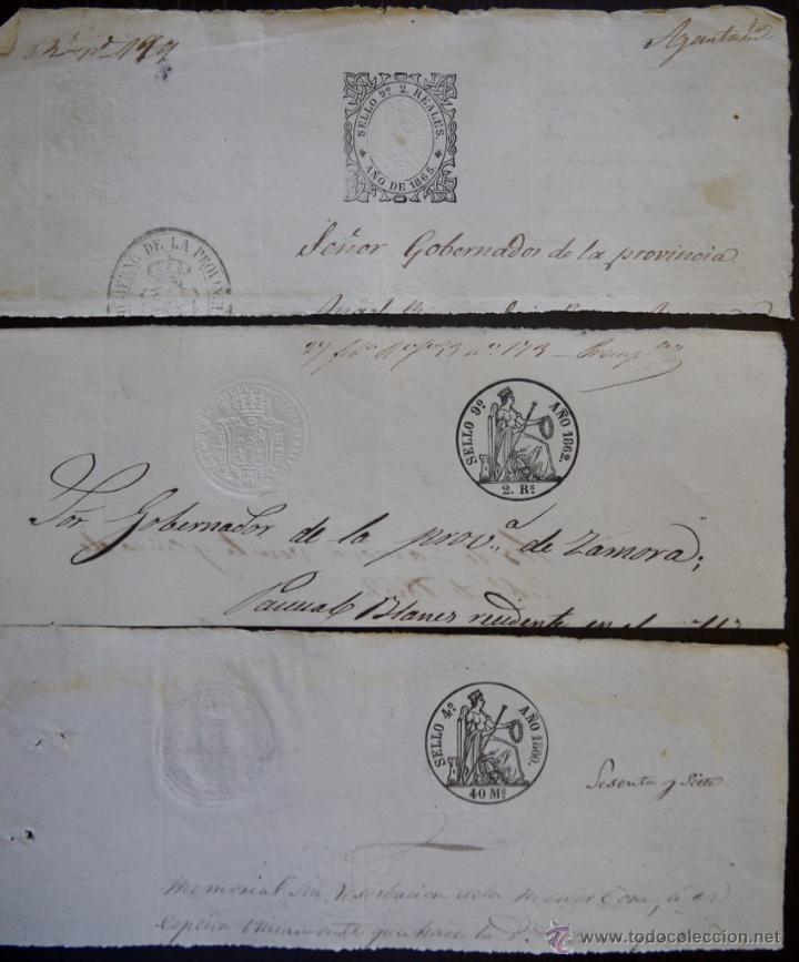 TRES SELLOS CLASICOS FISCALES 1860, 1862 Y 1865. ANTIGUOS SELLOS FISCALES TIMBROLOGIA FILATELIA FISC (Sellos - España - Isabel II de 1.850 a 1.869 - Usados)